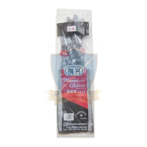 Găng cao su chống acid đen, dày Trung Quốc, loại dài trung tới khủy