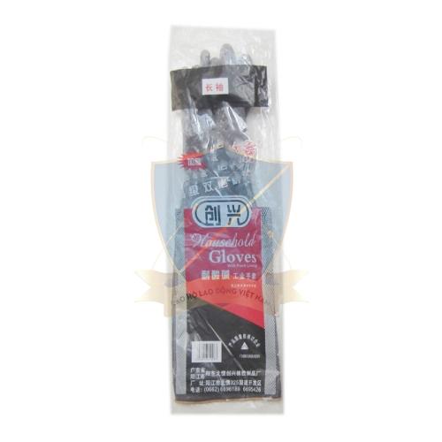 Găng cao su chống acid đen, dày Trung Quốc – loại dài thường