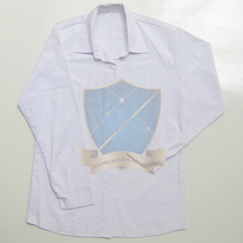Áo bếp kaki cotton trắng dài tay nữ