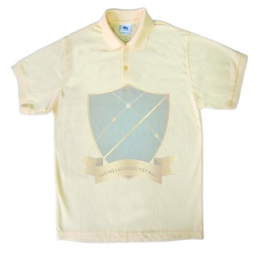 Áo phông dệt kim tổ ong cổ bẻ màu vàng cam chanh