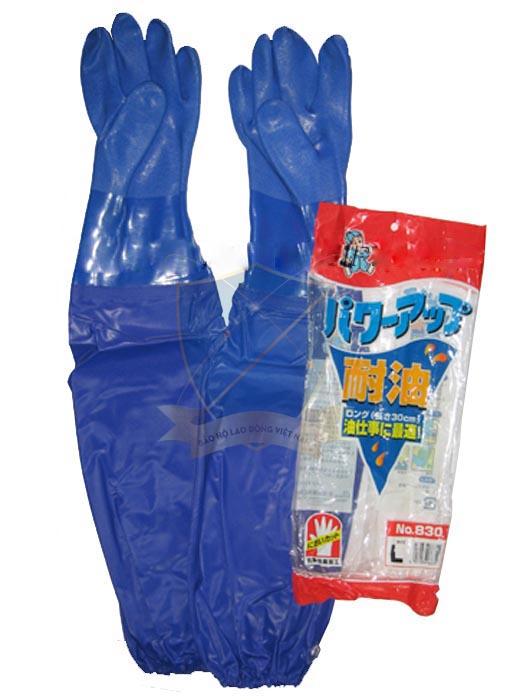 Găng cao su chống dầu Trung Quốc màu xanh dương dài tới nách