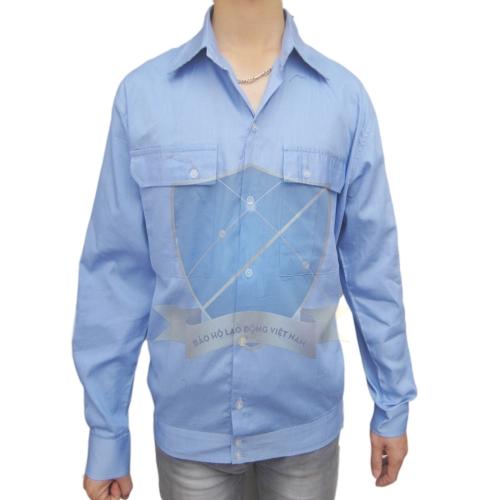 Áo bảo hộ vải thô xanh Hòa Bình mỏng