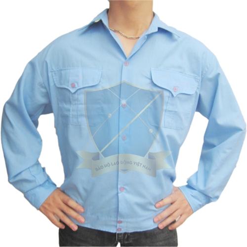 Áo sơ mi vải thô xanh Hòa Bình (kiểu Bảo vệ)