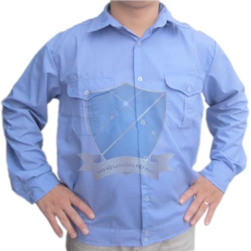 Áo bảo hộ vải thô xanh Hòa Bình dày