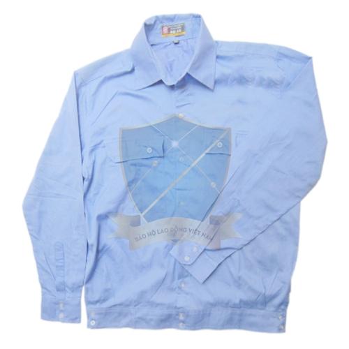 Áo bảo hộ kaki cotton mỏng màu xanh Hòa Bình