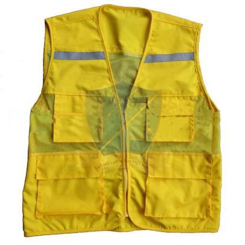 Áo gile phản quang túi hộp màu vàng