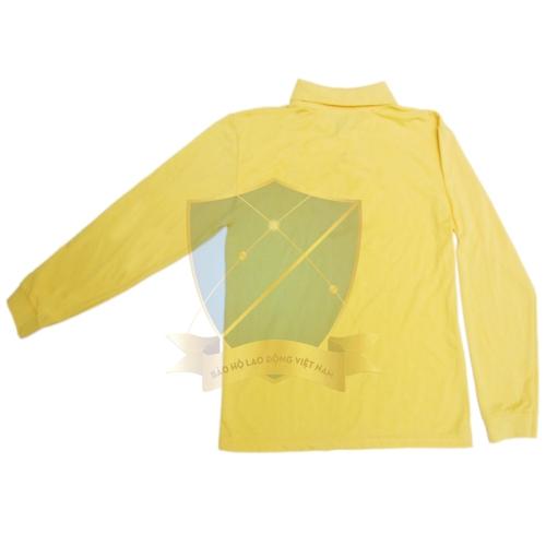 Áo phông dệt kim tổ ong cổ bẻ dài tay màu vàng cam chanh