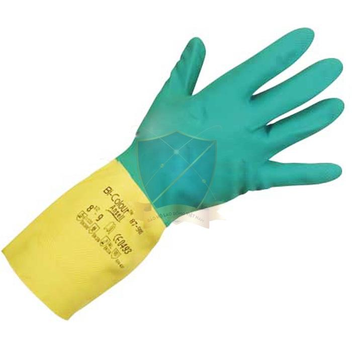 Găng cao su chống acid Malaysia 2 màu