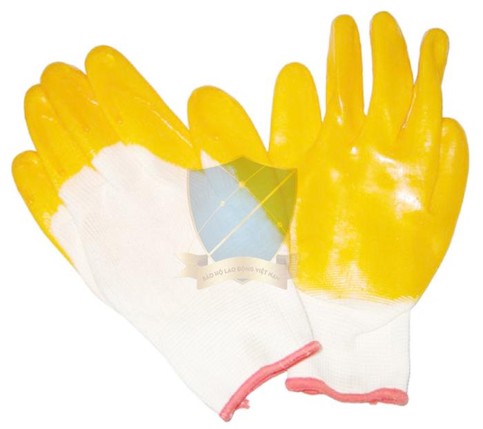 Găng sợi tráng nhựa Đài Loan màu vàng chống trơn, hóa chất