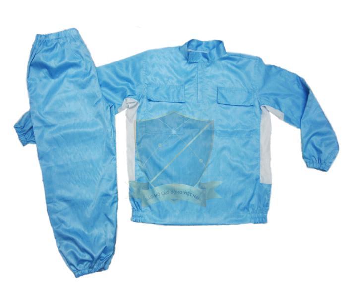 Quần áo vải chống tĩnh điện Vinilon xanh kẻ – Việt Nam