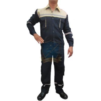 Quần áo bảo hộ lao động pha màu vải bạt dày chống cháy màu tím than