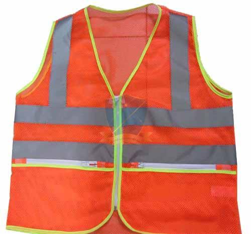 Áo phản quang vải lưới có túi hộp màu đỏ