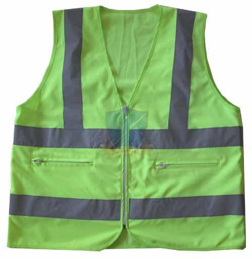 Áo phản quang vải thoáng có túi hộp màu xanh nõn chuối