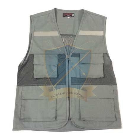 Áo gile màu ghi đá phản quang 4 túi hộp có lưới