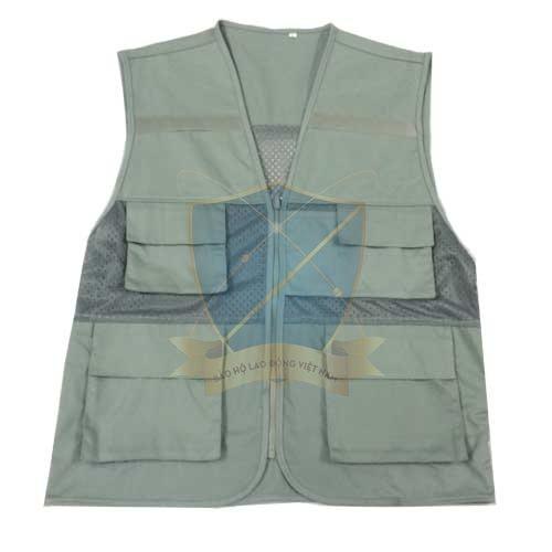 Áo gile phản quang màu ghi nhạt