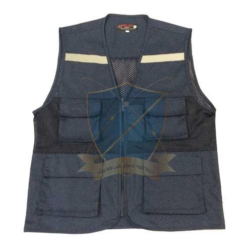 Áo gile phản quang màu tím than có lưới 4 túi