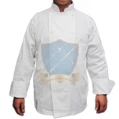 Áo bếp kaki cotton trắng