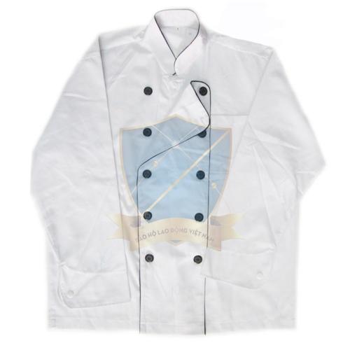 Áo bếp kaki liên doanh Hàn Quốc trắng viền đen cho nam dài tay
