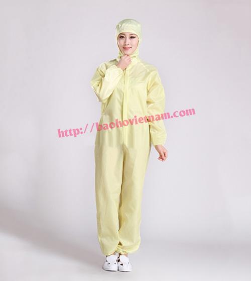 Quần áo chống tĩnh điện liền quần màu vàng K-05