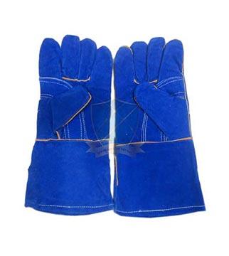 Găng da dài – da lộn mềm chống nóng EU 2 lớp, màu xanh