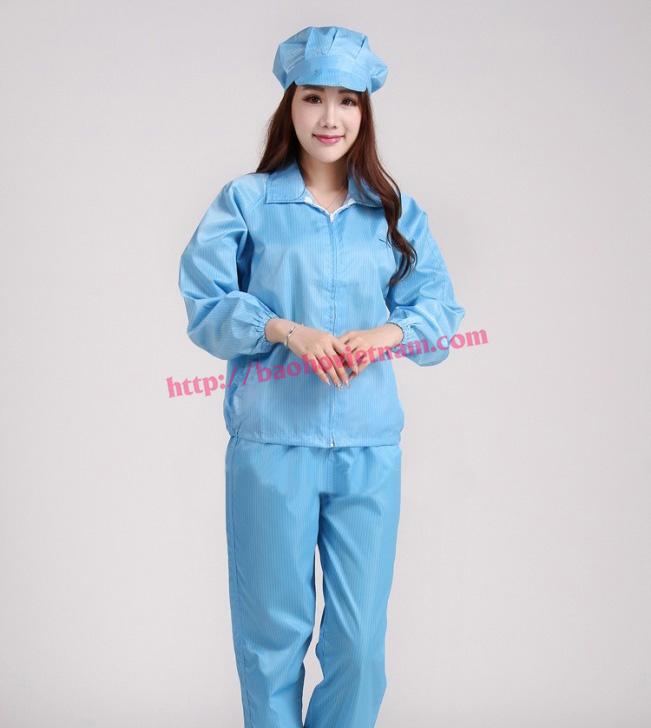 Quần áo chống tĩnh điện dài tay màu xanh K-04