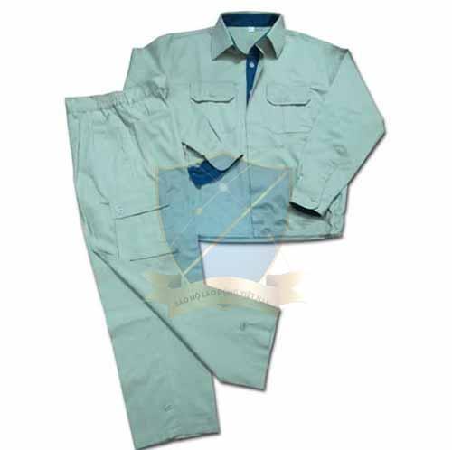 Quần áo bảo hộ vải kaki liên doanh HQ màu ghi pha màu
