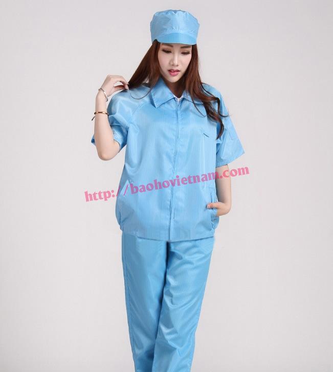 Quần áo chống tĩnh điện ngắn tay màu xanh K-03