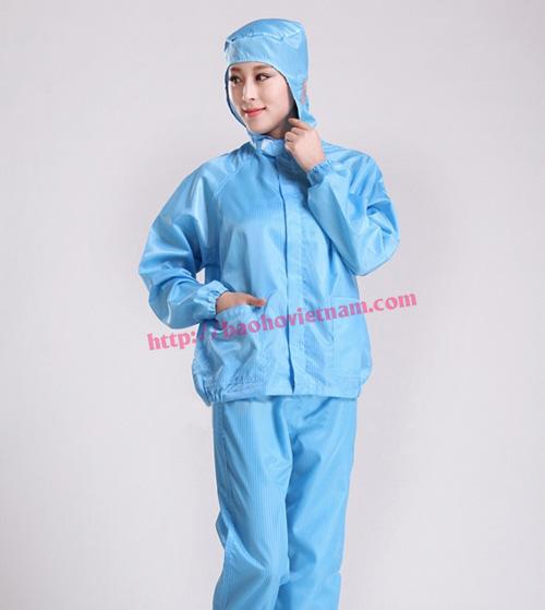 Quần áo chống tĩnh điện dài tay màu xanh K01-04