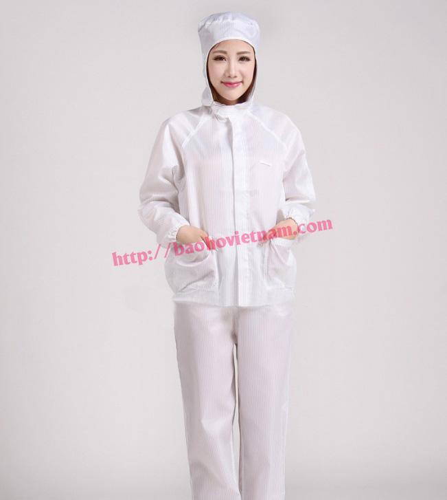 Quần áo chống tĩnh điện dài tay màu trắng K-04