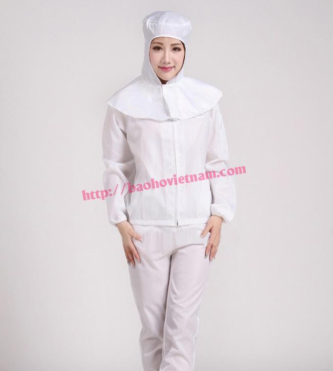 Quần áo chống tĩnh điện dài tay mũ xòe K-04