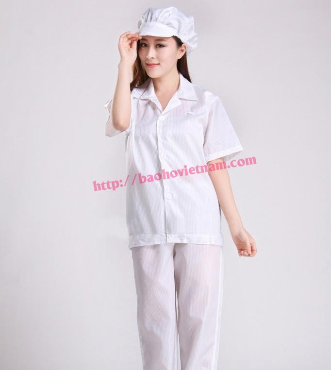 Quần áo chống tĩnh điện ngắn tay màu trắng K-03