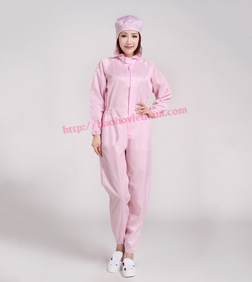 Quần áo chống tĩnh điện liền quần màu hồng K-05