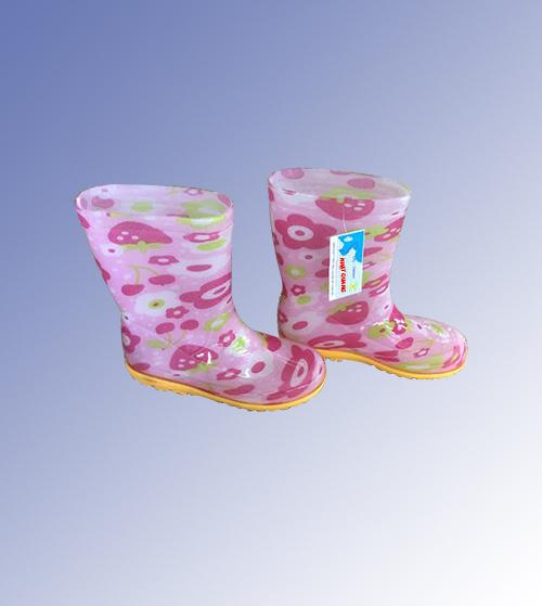 Ủng trẻ em màu hồng hình bông hoa