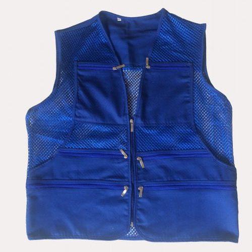 Áo gile màu xanh đậm phản quang lưới to