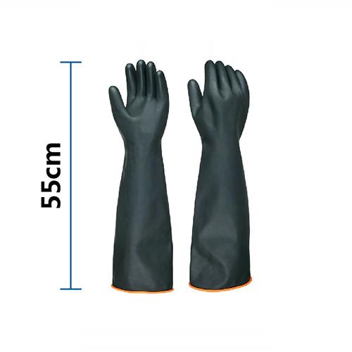 Găng tay cao su chống acid đen dài 55cm