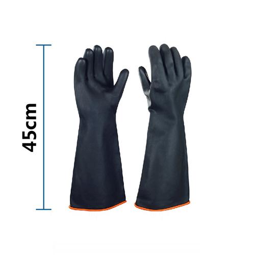 Găng tay cao su chống acid đen dài 45cm