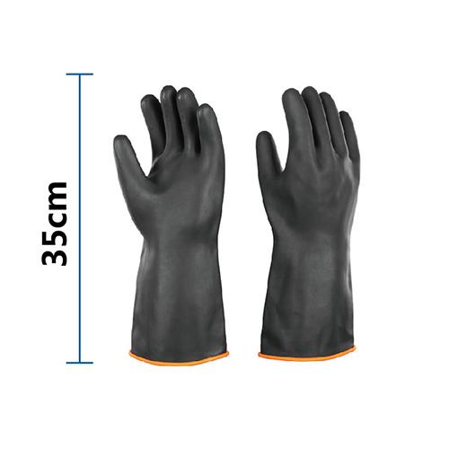 Găng tay cao su chống acid đen dài 35cm