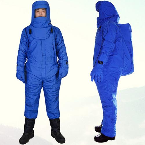 Bộ quần áo liền quần phòng lạnh âm 250 độ có túi đựng bình khí
