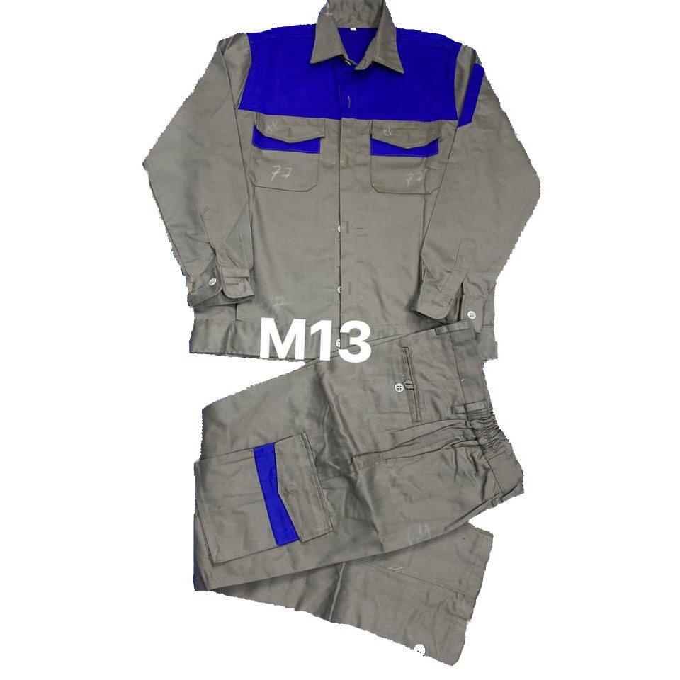 Quần áo bảo hộ kaki liên doanh phối màu ghi xanh