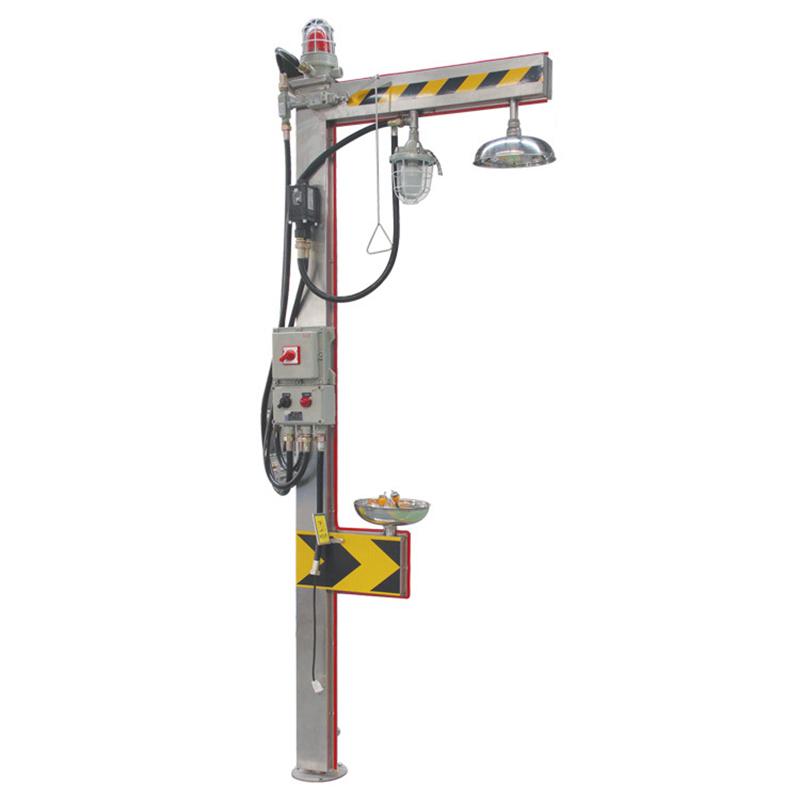 Bồn rửa mắt khẩn cấp Homasi loại có nóng lạnh, đèn cảnh báo, phòng chống cháy nổ